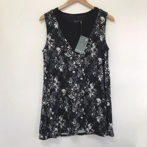 NWT Lysse Riviera Top Black Floral Tank Top medium